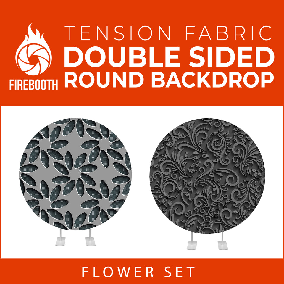 Flower Set-17 Double Sided Round Tension Fabric Photo Booth Backdrop