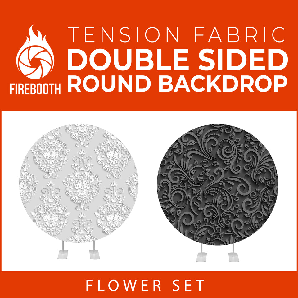 Flower Set-18 Double Sided Round Tension Fabric Photo Booth Backdrop