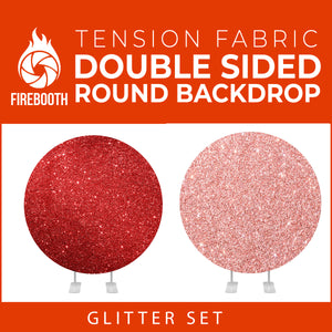 Glitter Set-2 Double Sided Round Tension Fabric Photo Booth Backdrop
