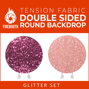 Glitter Set-3 Double Sided Round Tension Fabric Photo Booth Backdrop