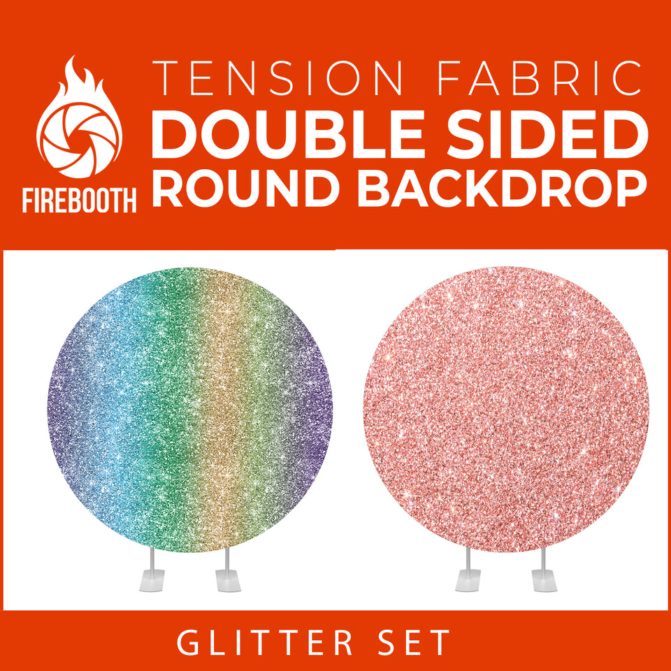 Glitter Set-4 Double Sided Round Tension Fabric Photo Booth Backdrop