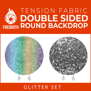 Glitter Set-5 Double Sided Round Tension Fabric Photo Booth Backdrop