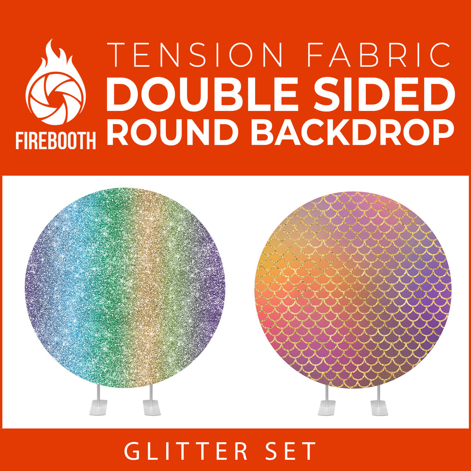 Glitter Set-6 Double Sided Round Tension Fabric Photo Booth Backdrop