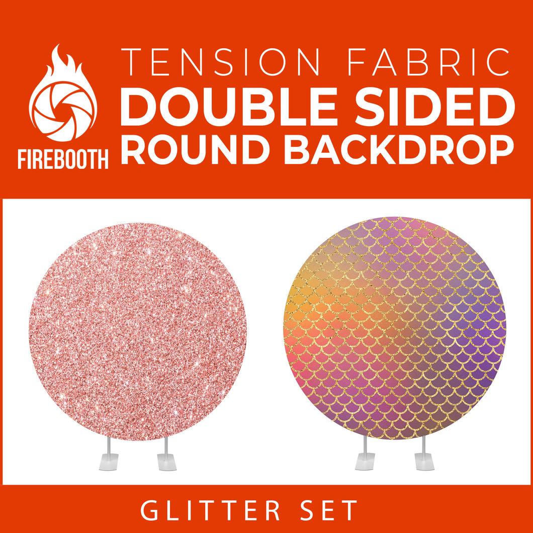 Glitter Set-7 Double Sided Round Tension Fabric Photo Booth Backdrop