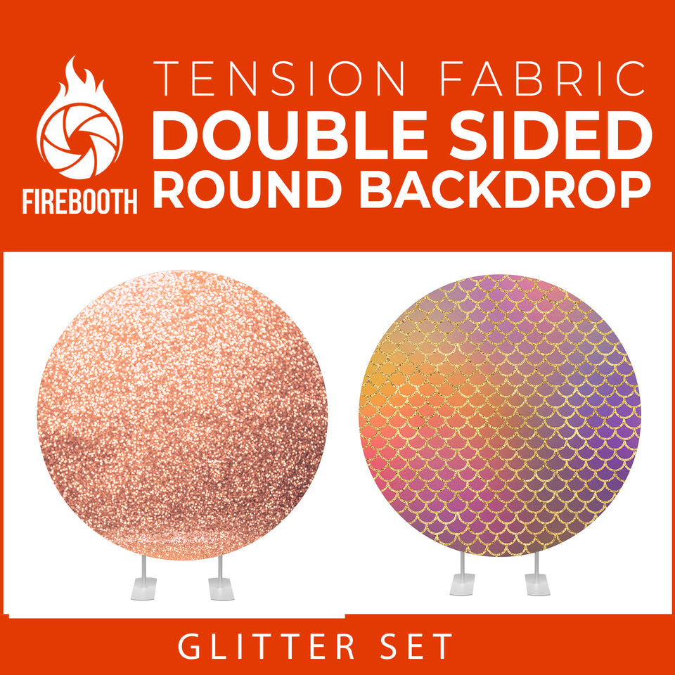 Glitter Set-8 Double Sided Round Tension Fabric Photo Booth Backdrop