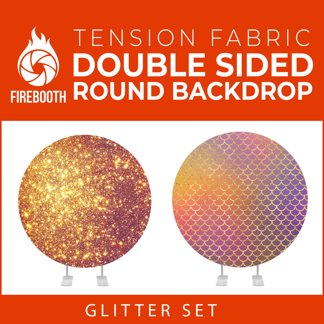 Glitter Set-9 Double Sided Round Tension Fabric Photo Booth Backdrop