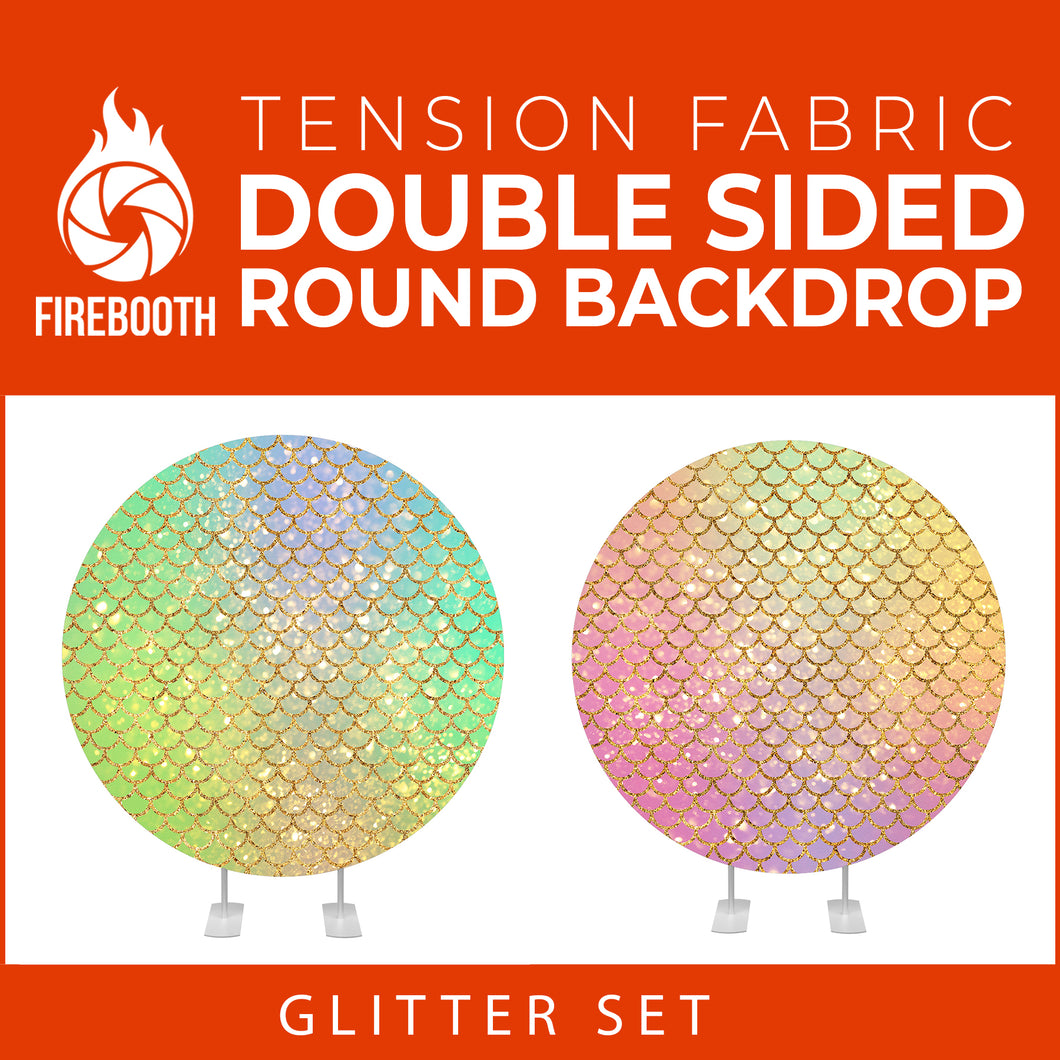 Glitter Set-18 Double Sided Round Tension Fabric Photo Booth Backdrop