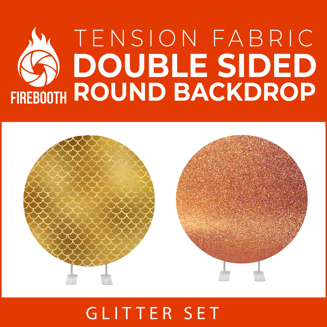 Glitter Set-20 Double Sided Round Tension Fabric Photo Booth Backdrop