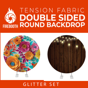 Glitter Set-27 Double Sided Round Tension Fabric Photo Booth Backdrop
