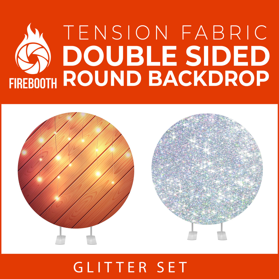 Glitter Set-32 Double Sided Round Tension Fabric Photo Booth Backdrop