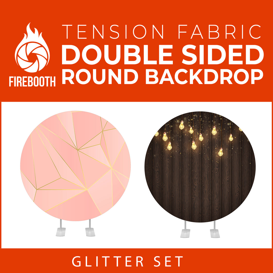 Glitter Set-36 Double Sided Round Tension Fabric Photo Booth Backdrop