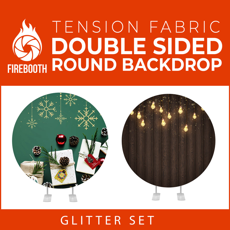 Glitter Set-39 Double Sided Round Tension Fabric Photo Booth Backdrop