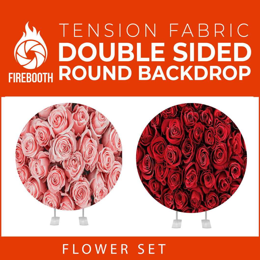 Flower Set-24 Double Sided Round Tension Fabric Photo Booth Backdrop