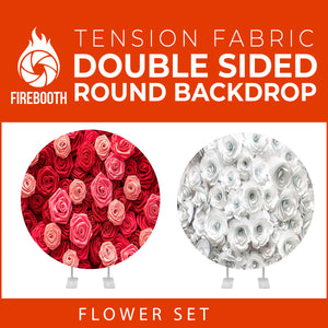 Flower Set-26 Double Sided Round Tension Fabric Photo Booth Backdrop