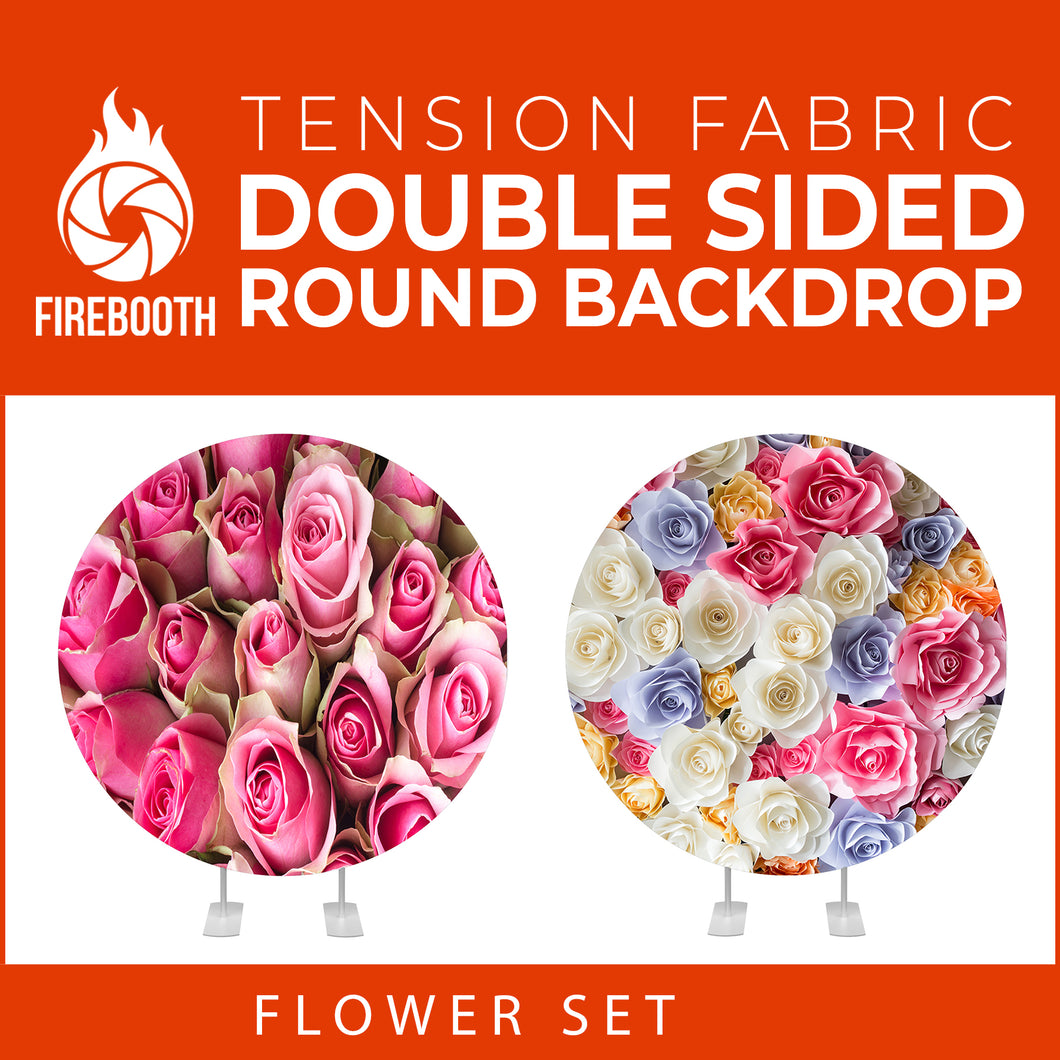 Flower Set-28 Double Sided Round Tension Fabric Photo Booth Backdrop