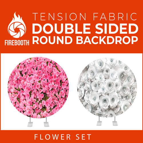 Flower Set-29 Double Sided Round Tension Fabric Photo Booth Backdrop