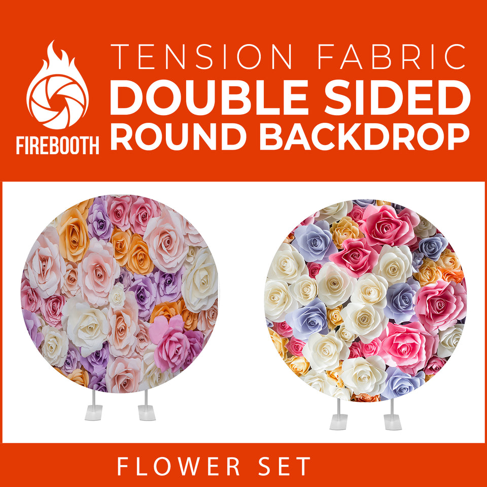 Flower Set-30 Double Sided Round Tension Fabric Photo Booth Backdrop