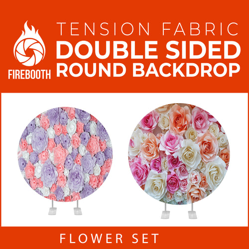 Flower Set-31 Double Sided Round Tension Fabric Photo Booth Backdrop