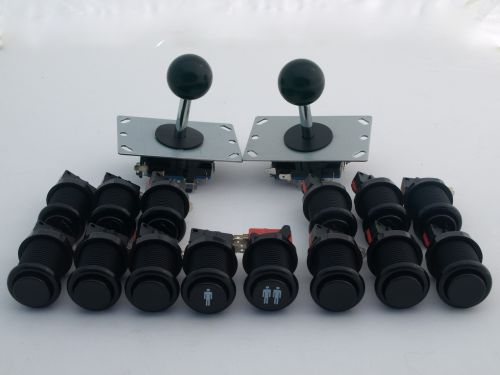 Black Arcade Pack, 2 Joysticks long shaft and 14 Buttons