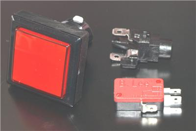 Square Button With LED Light and Micro Switch Red