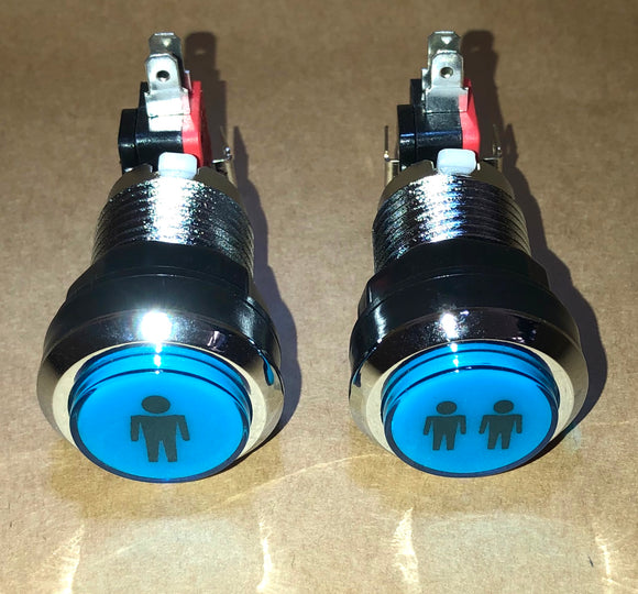 Player 1 & 2 LED chrome with blue top button with micro switch