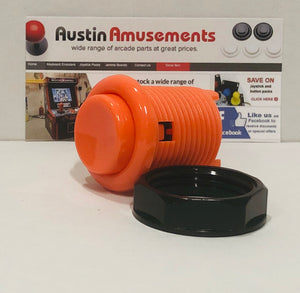 Ausleaf High-Performance Arcade Pushbutton with Leaf Switches, Orange