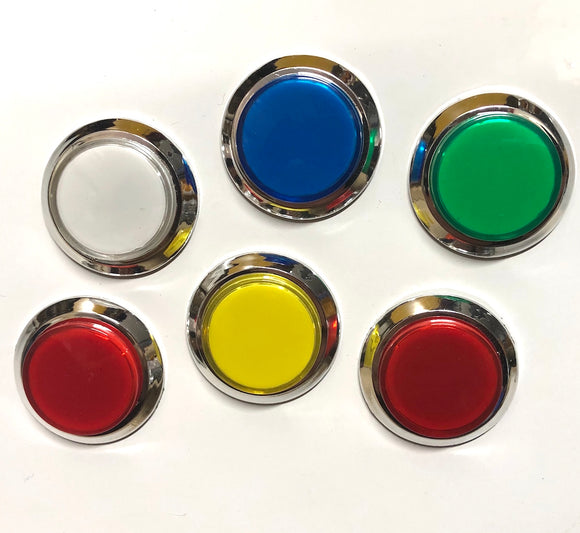 Chrome LED Arcade Button with Micro Switch, Choose Your Colour