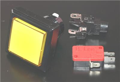 Square Button With LED Light and Micro Switch Yellow