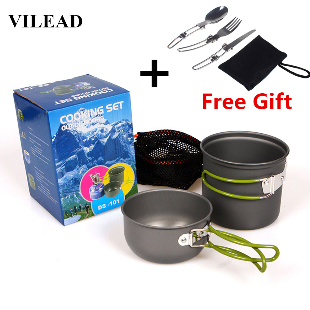 VILEAD Camping Cookware Set for 1-2 People + Free Gift