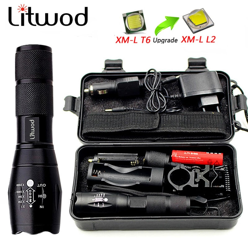LED 5000Lm Flashlight w/ Charger Tool Box