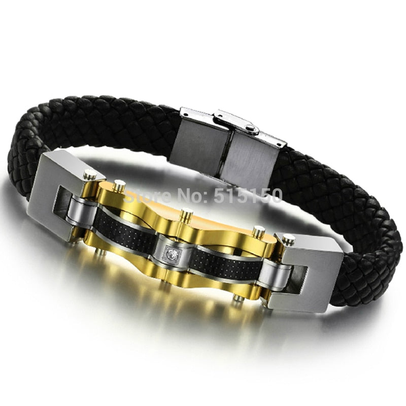 Genuine Leather Chain Bracelets w/ Stainless Steel