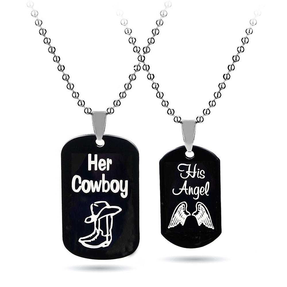 Her Cowboy His Angel Couple Pendant Necklaces