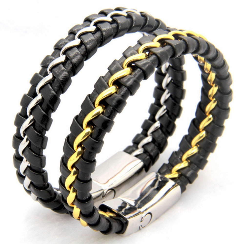 Stainless Steel Silver or Gold and Genuine Leather  Bracelets