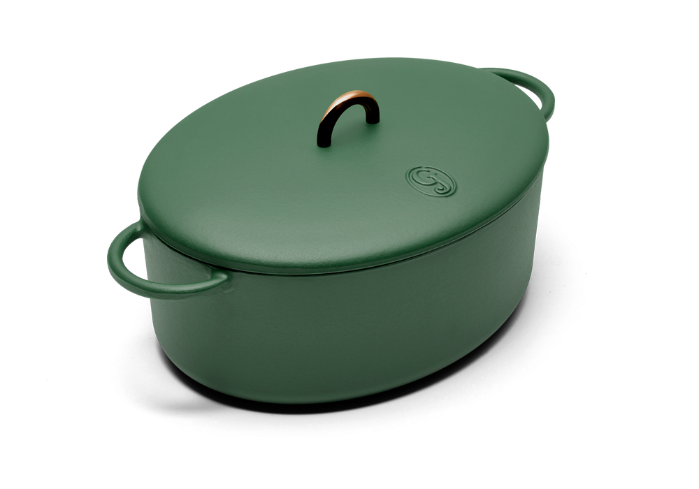 Enameled cast-iron Dutch oven in broccoli green - main