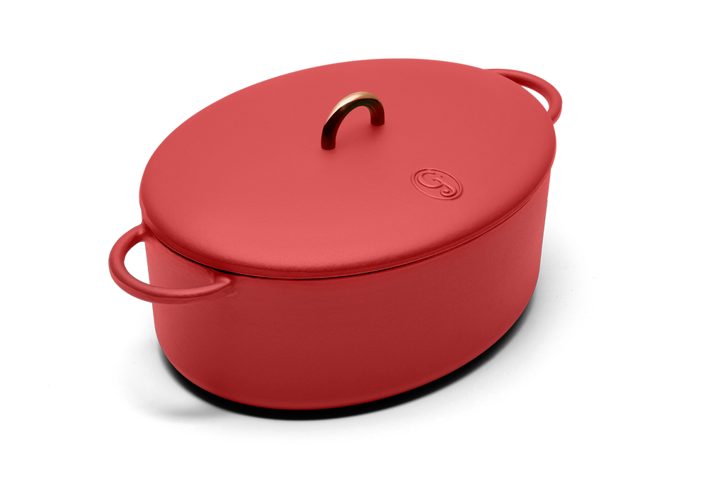 Enameled cast-iron Dutch oven in marinara red - main