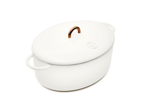 Enameled cast-iron Dutch oven in salt white - main