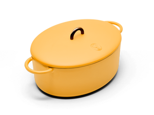 Enameled cast-iron Dutch oven in mustard yellow - main