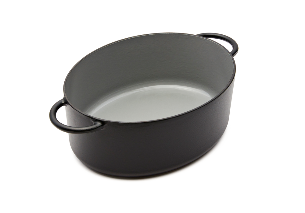 Enameled cast-iron Dutch oven in pepper black - no lid