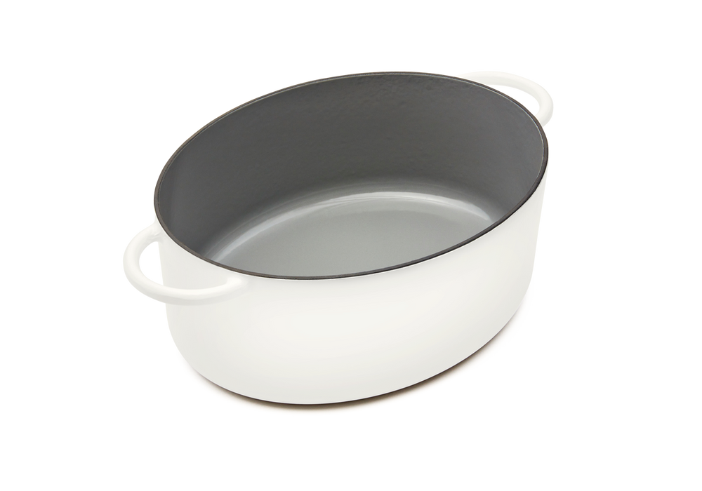 Enameled cast-iron Dutch oven in salt white - no lid