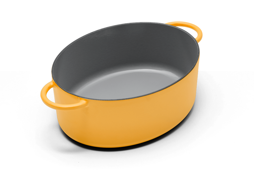 Enameled cast-iron Dutch oven in mustard yellow - no lid