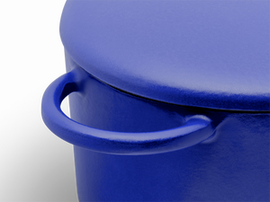Enameled cast-iron Dutch oven in blueberry blue - handle close-up