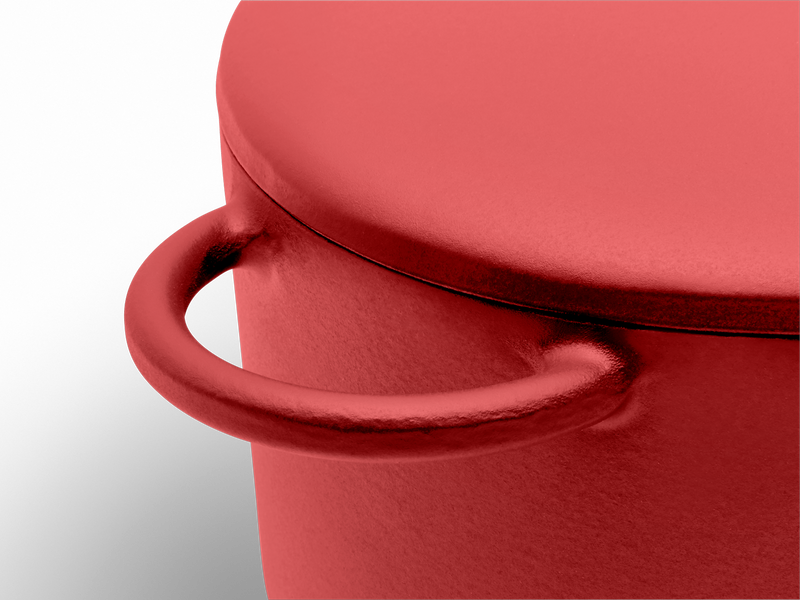 Enameled cast-iron Dutch oven in marinara red - handle close-up