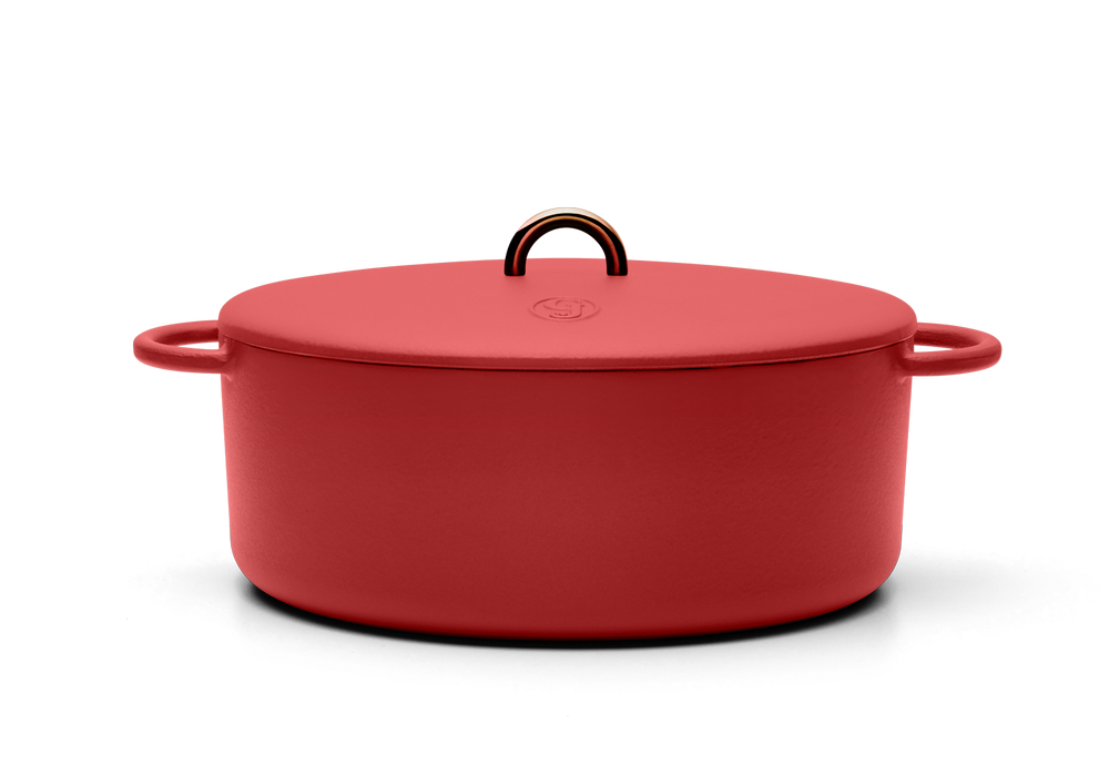 Enameled cast-iron Dutch oven in marinara red - side view with lid