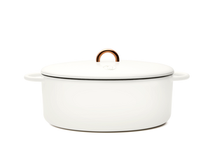 Enameled cast-iron Dutch oven in salt white - side view with lid