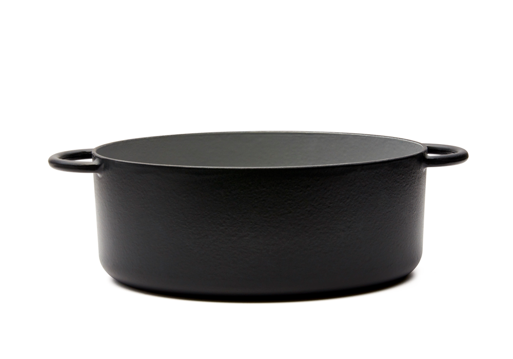 Enameled cast-iron Dutch oven in pepper black - side view no lid