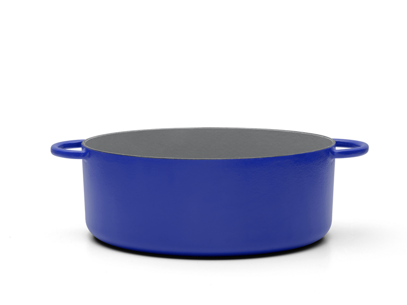 Enameled cast-iron Dutch oven in blueberry blue - side view no lid