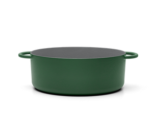 Enameled cast-iron Dutch oven in broccoli green - side view no lid