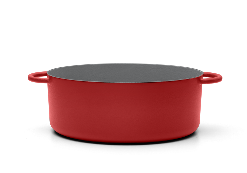 Enameled cast-iron Dutch oven in marinara red - side view no lid