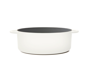 Enameled cast-iron Dutch oven in salt white - side view no lid