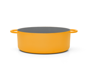 Enameled cast-iron Dutch oven in mustard yellow - side view no lid